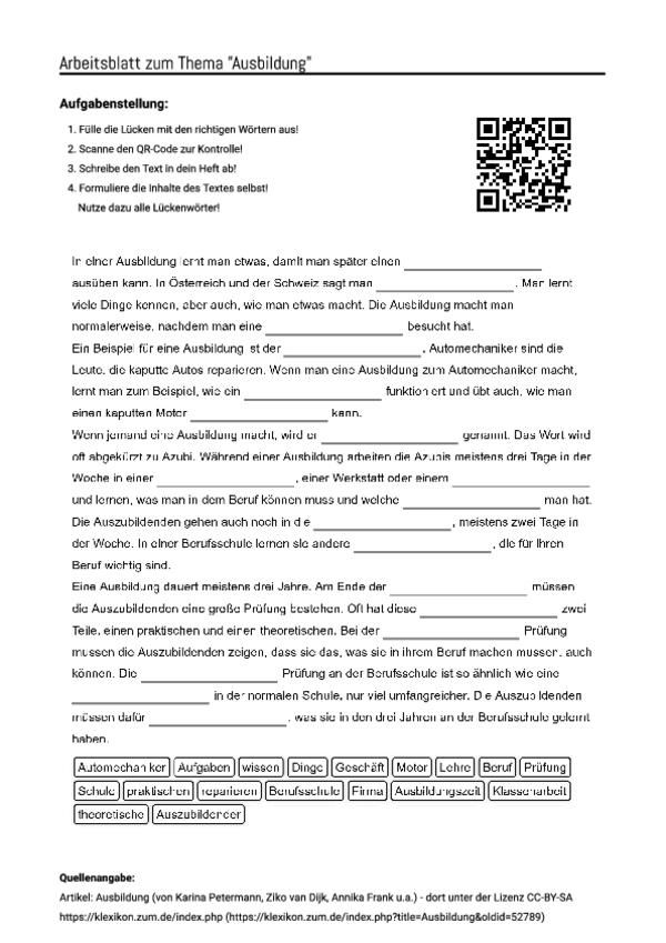 arbeitsblatt mit l ckentext zum thema ausbildung unterricht schule arbeitsbl tter. Black Bedroom Furniture Sets. Home Design Ideas