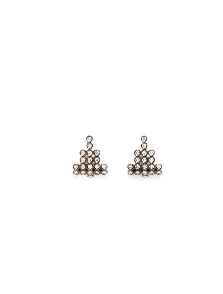 CHARNIERES earrings, rose & black gold 18K with brilliant-cut diamonds
