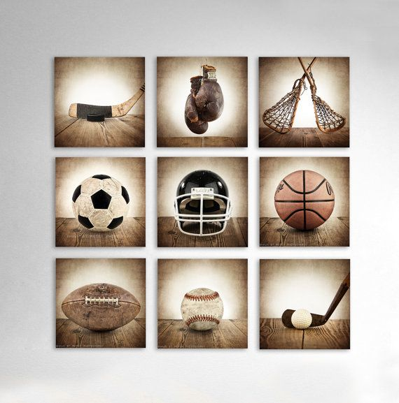 Vintage Square Sports Collection Set of Nine Canvases Ready to Hang, Vintage Sports Nursery, Rustic Sports Decor