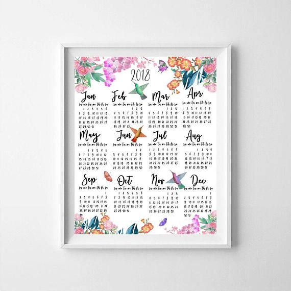 Calendar Printable Calendar 2018Hummingbird calendar2018