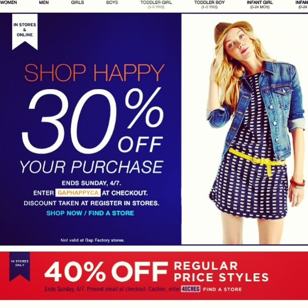 Deal Alert (CDN): Gap 30% Off + Exclusive Email Offer 40% Off In Store. Happy Shopping! #deal #alert #gap #exclusive #online #instore #shopping #clothing #fashion