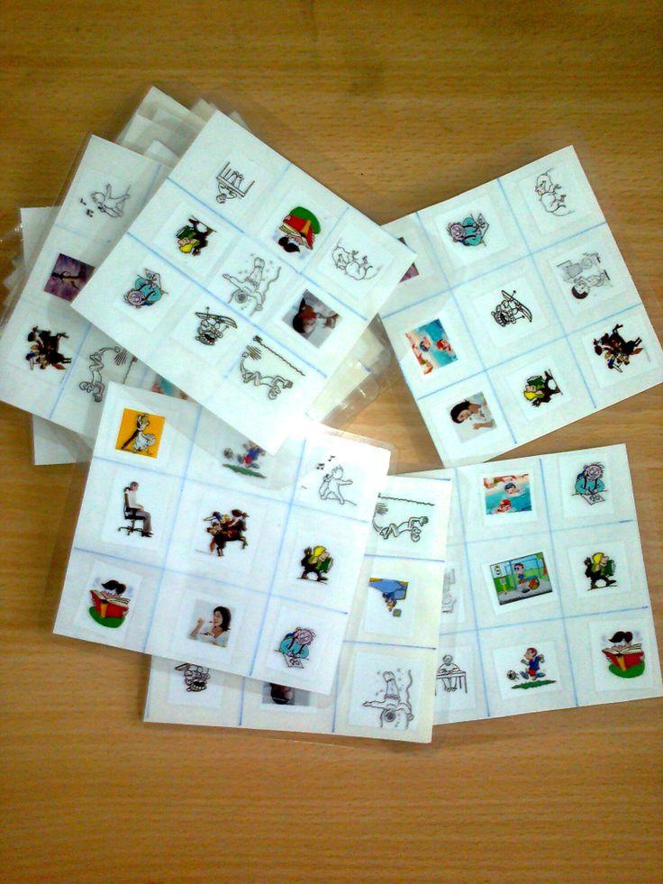 Bingo - děti slyší celou větu a zakrývají správnou činnost. Možno trénovat s více časy.