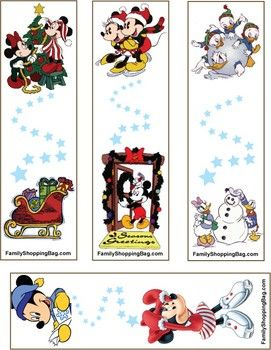 Mickey Christmas Bookmarks, Mickey Mouse, Bookmarks - Free Printable Ideas from Family Shoppingbag.com