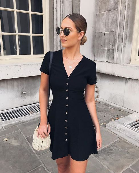 simple black button front dress