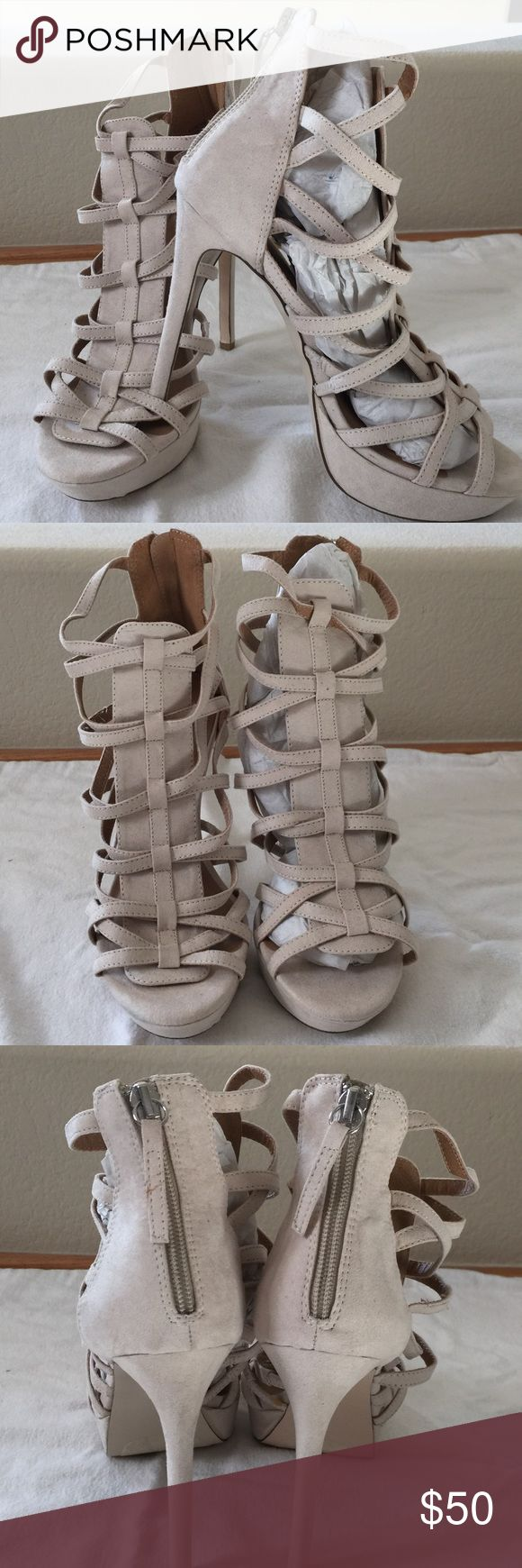 👠🌸Brand New Tan Sexy Stilettos🌸👠 Brand New Never Worn Tan Stilettos JustFab. No Box.👠  Sexy OpenToe Ankle ZipUp Size 7... 🚫NO TRADES🚫NOT NEGOTIABLE🚫 JustFab Shoes Heels