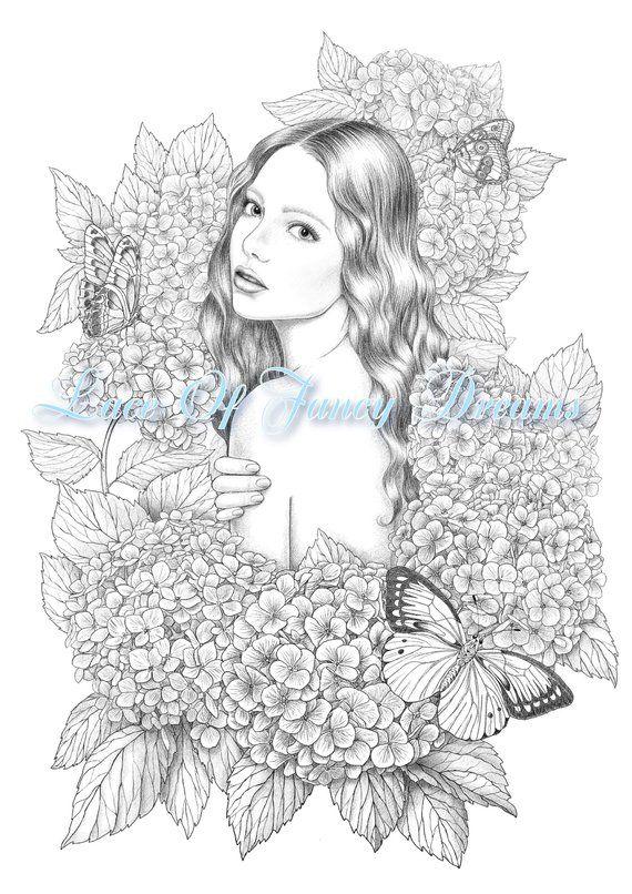Hydrangea Coloring Page Pdf Beautiful Woman Coloring Sheet Etsy Coloring Pages Flower Coloring Pages Hydrangea Colors