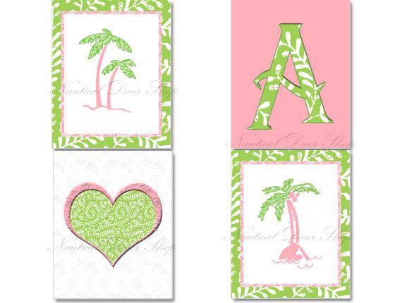 Tropical Nursery Beach Nursery Pink Green by NauticalDecorShop, $40.00