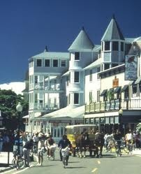 Mackinaw Island, Michigan. No motorized vehicles allowed.  All travel is done via horse drawn carts and bicycling