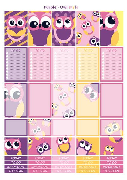 Printable owl, purple, yellow, pink, parma stickers | 3 pdf | Instant download…