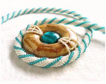 Beaded Red Poppy Necklace Green Bead Crochet by BeadworkAndCoe