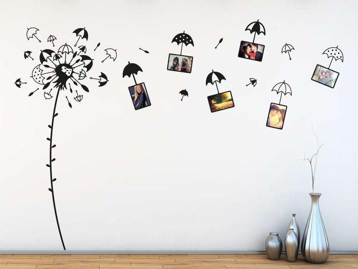 wandtattoo fotorahmen pusteblume mit regenschirmen. Black Bedroom Furniture Sets. Home Design Ideas