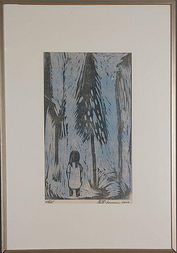Ahti Lavonen: Tyttö metsässä, 1958, puupiirros, 48x28 cm - Bukowskis Market 2015