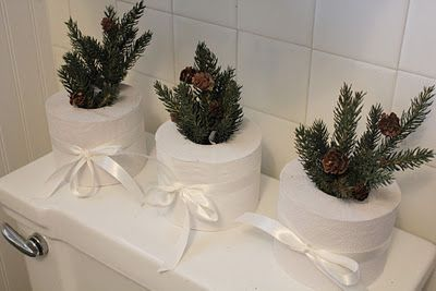 fun bathroom decorating idea for the holidays****************************************************** Board Description: All things Wintery/Christmas-e Rustic.Creative. DIY. Old Fashioned. Green. Red. Gold. Brown. Tree. Mantle. Living Room. Wreath. Ornaments. Sheet music ideas. Sheet music crafts