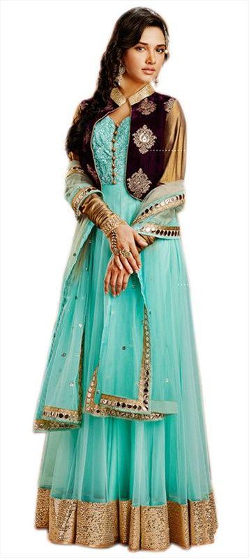 433852, Anarkali Suits, Net, Resham, Mirror, Lace, Gold, Blue Color Family