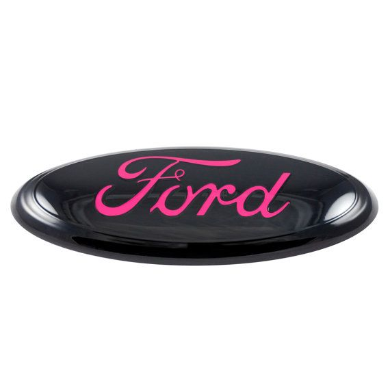 Customize your ride with this classy black and pink Ford emblem!