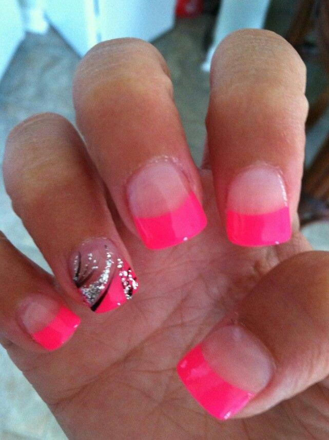 hot pink tip nails - photo #3