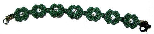 Swarovski Green Clover Lucky Friendship macrame Bracelet with clasp