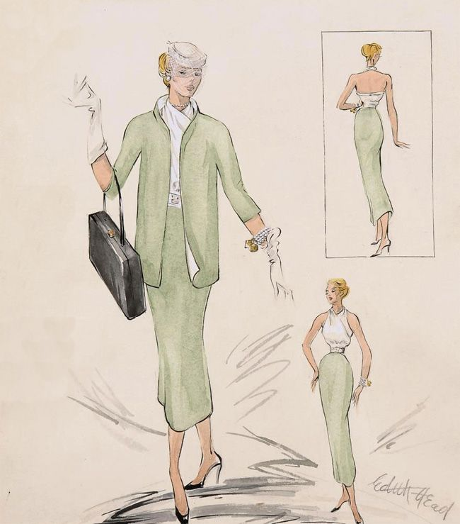 Costume design illustrations by Edith Head for Grace Kelly in Rear Window, 1954.