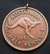 Genuine Coin Pendant, Australia, 1943, Kangaroo, Half Penny Natural Patina NP2