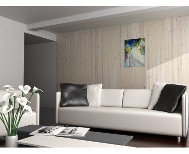 Descubre el revestimiento de pared abeto natural y lo bien que queda en la pared de un #salón.