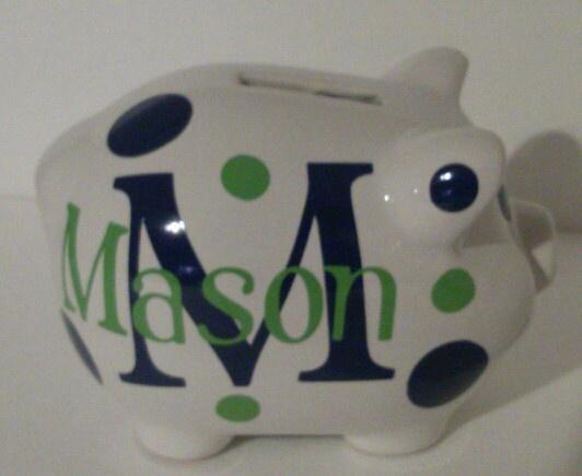 Cricut Vinyl Personalized  Piggy Bank