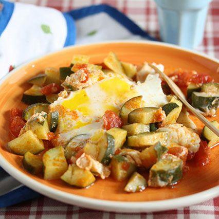 Zucchine in umido con uovo in camicia