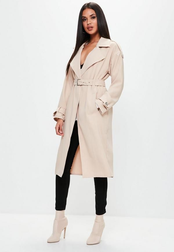 Nude coat in a trench style, crepe fabric and button detailing.