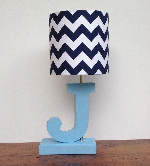 Small Navy Blue/White Chevron Drum Lamp Shade - Nursery or Boy's Lamp Shade on Etsy, $30.00