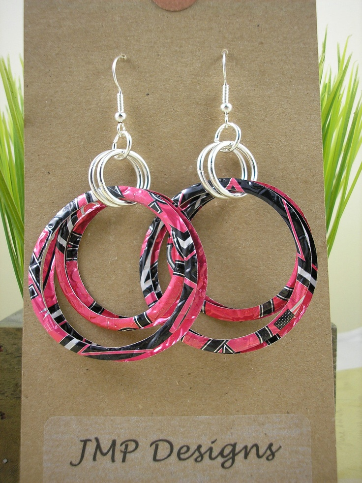 Recycled Soda Can Art.  Stacked Hoop Circle Earrings .  DOUBLE-sided.  Pink Rockstar. $9.95, via Etsy.