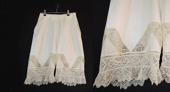 Antique Clothing Edwardian Vintage Drawers or Bloomers With