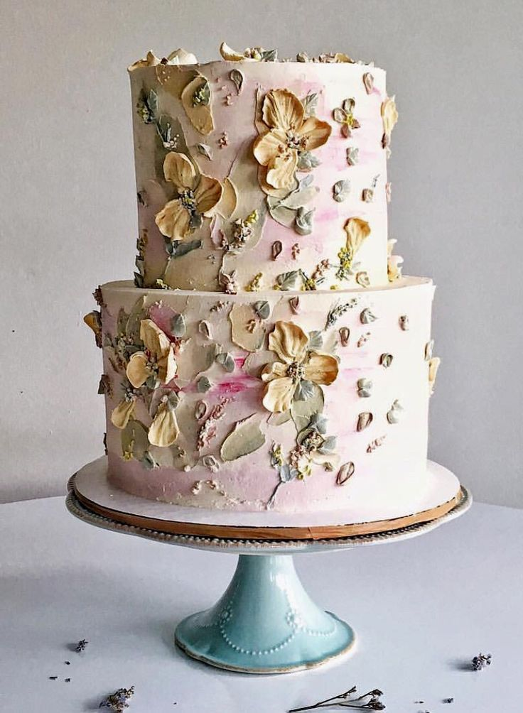 Floral Modern Watercolor Wedding Cake Painted Cakes Beautiful Cake Designs Cake