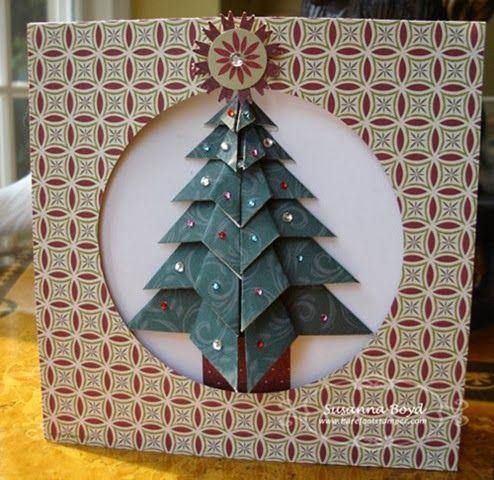 Картинки, елочка оригами на новогоднюю открытку