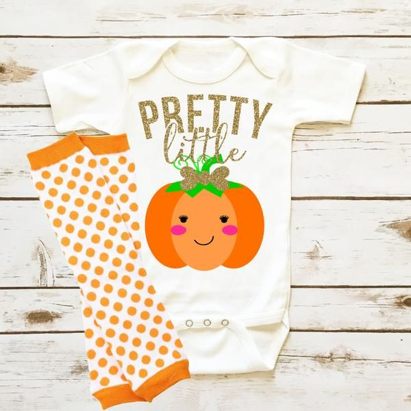 Pretty Little Pumpkin   Infant Fall Baby Girl Clothes. The perfect outfit for a Fall Themed gender reveal party.