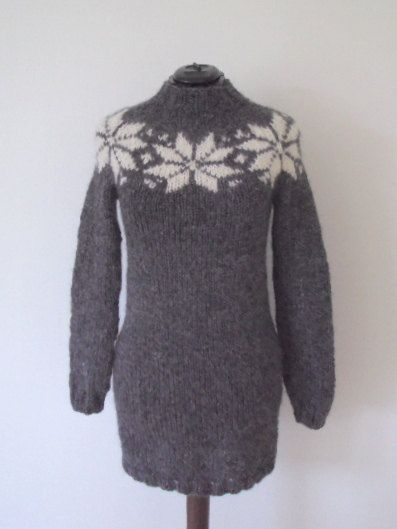 NEW AnneMaachDesign ! Here is my brand new model. Hand knitted dress in pure Icelandic wool with a beautiful new star pattern. The model shown here is in charcoal gray with off-white stars, but there are many other colors to choose from the color board.  This dress can be ordered in size S/M or L/XL and it fits a chest girth of 92 or 105 cm.  It is also possible to order the model with turtleneck for the same price and of course to choose other colors than you see available, just write me.