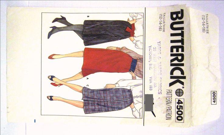 80s Skirt Pattern Butterick 4500 Retro Straight Pencil Skirt Size 12 14 16 Below Knee Side Kick Pleats High Waist Back Zipper UNCUT Vintage by RuthsGreenTreasures on Etsy