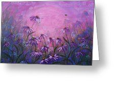 Purple Halo, Echinacea Greeting Card by Laura Wilson