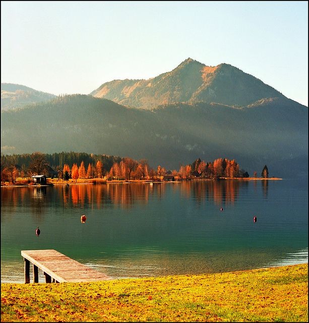 Wolfgangsee is a lake in Austria that lies mostly within the state of Salzburg and is one of the best known lakes in the Salzkammergut resort region. The municipalities on its shore are Strobl, St. Gilgen with the villages of Abersee and Ried as well as the market town of St. Wolfgang in the state of Upper Austria. by http://flic.kr/ps/26MnfN