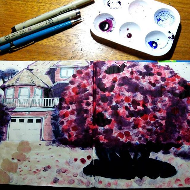 Sketch finalizado 3  Feito com tinta de carimbo, marcas de dedos, café e cotonetes.  #sketch #sketchbook #desenho #draw #drawing #dibujo #arte #art #artist #rodrigosancho #boanoite #paisagem #instagram #instaartsy ##instasketch #instaartist #instagood #paint #painting #video #colors #cor #spring #color #primavera #red #blue #cafe #coffee
