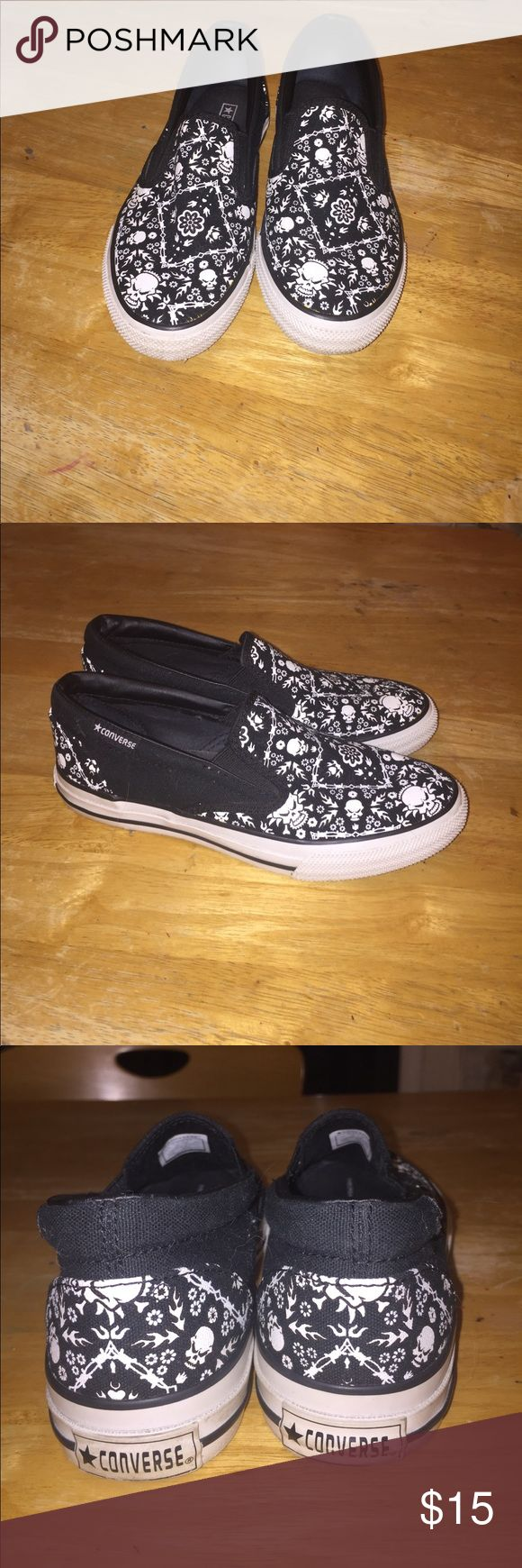 Black and White Converse Slides Cute and easy black and white design slides. Easily go with almost every outfit! Make an offer and I'll get back to it ASAP!! Converse Shoes Espadrilles