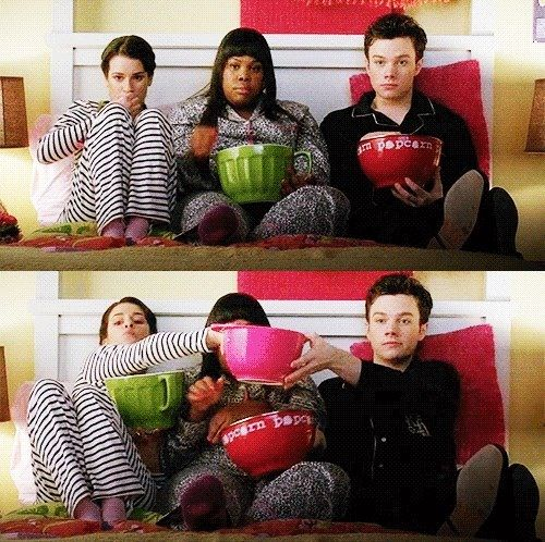Lea Michele, Amber Riley, and Chris Colfer as Rachel Berry, Mercedes Jones, and Kurt Hummel. Oh my god, I love these three! Lol!