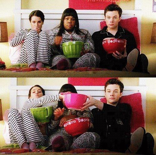 Love this friendship! Rachel, Mercedes, and Kurt.