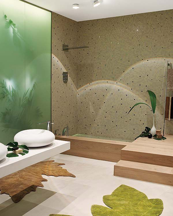 """A bathroom design inspired by nature is likely to result in a calming, balanced environment, ideal for relaxation and rejuvenation.The color scheme is green and beige - reminding us of sand and leaves. The sinks resemble giant smooth pebbles...""  Sounds relaxing to me!"