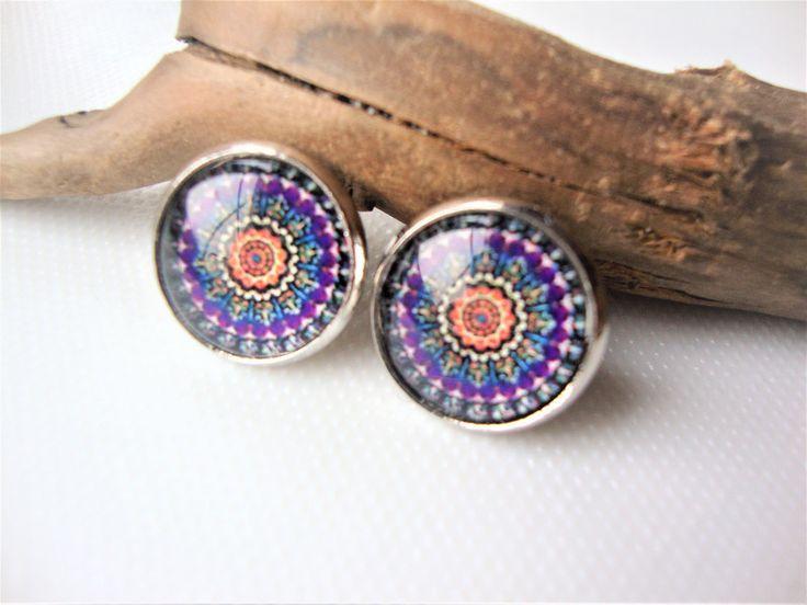 Okrągłe kolorowe mandale - MargotArt - Kolczyki wkrętki
