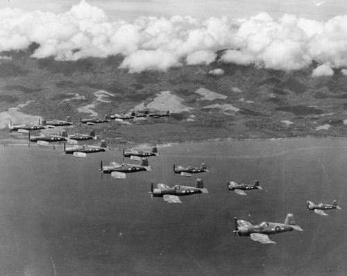 Royal New Zealand Air Force Corsairs off Guadalcanal, Solomon Islands, 1944.