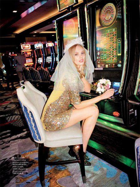 Marloes Horst Has a Las Vegas Wedding in L'Officiel Paris June July 2016 - Posing in the casino, Marloes Horst wears Sonia Rykiel sequin embellished dress