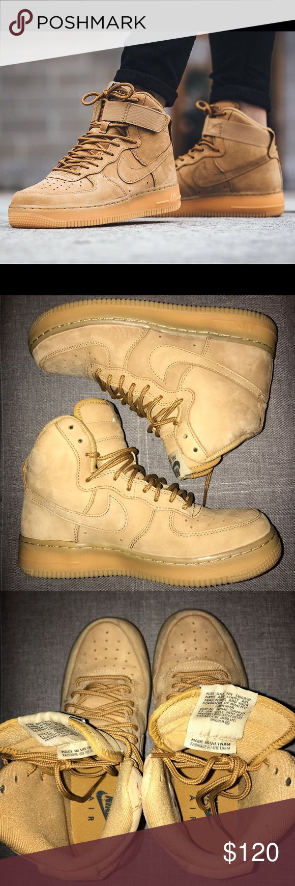 Nike Air Force 1 Flax 🛑 Price Firm! Nike Air Force 1 High in Flax. 5.5 youth = 7.5 women's. I'm a size 7 and these fit fine, a little foot space but thick socks can fix that. In very good condition. Worn twice. I have also put the straps back on. Nike Shoes Sneakers