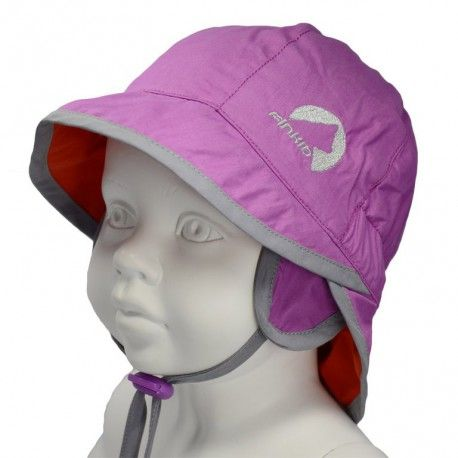 "Sun hat with ear flaps, UV-protection, ""Paju"" pink orchid/storm, Finkid"