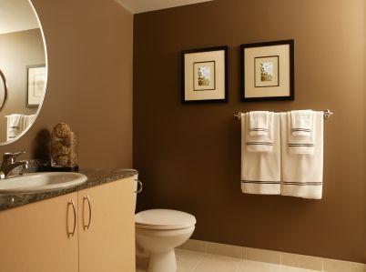 brown bathroom design love the dark brown wall