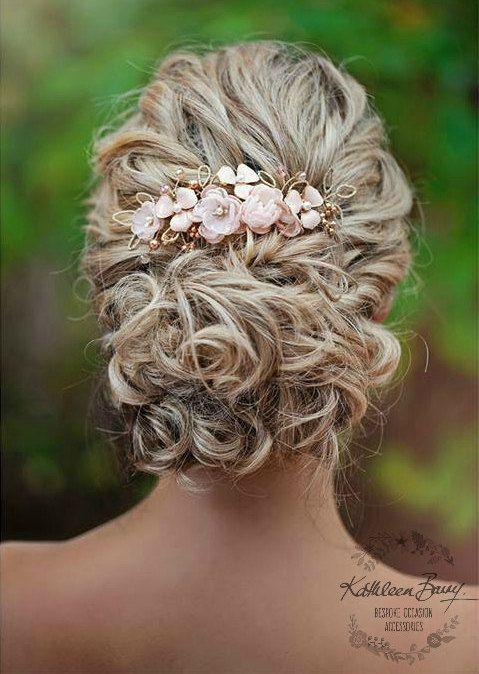 R780 Rose gouden haren kam haarstukje blush roze - bruiloft bridal hair - sluier comb - goud