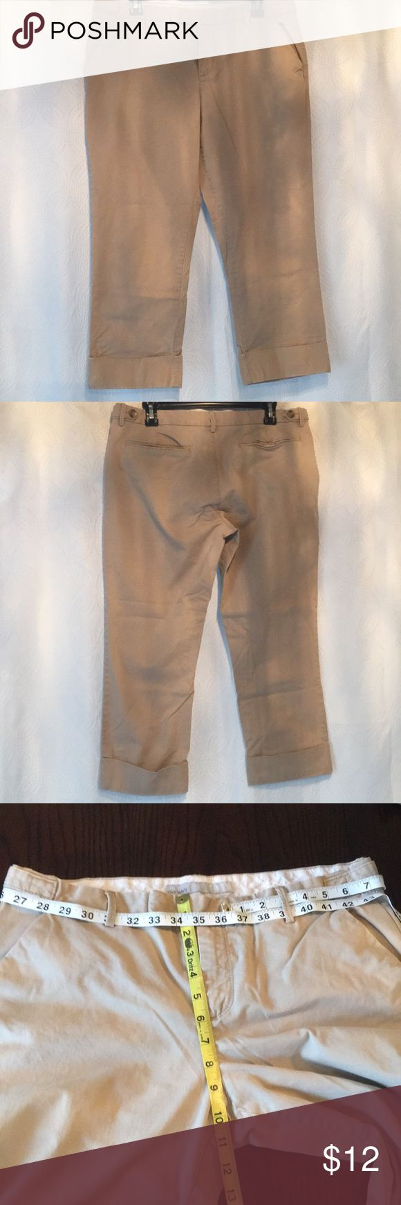 Old Navy khaki capris Size 12, no stains or rips, smoke free home in excellent used condition. Cuffed at hem and has front and back pockets. 97% cotton, 3% spandex. Bundle for private offer or reduced shipping. If additional measurements or questions please let me know. Old Navy Pants Capris